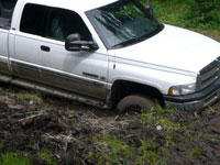 Truck stuck in boggy backcountry